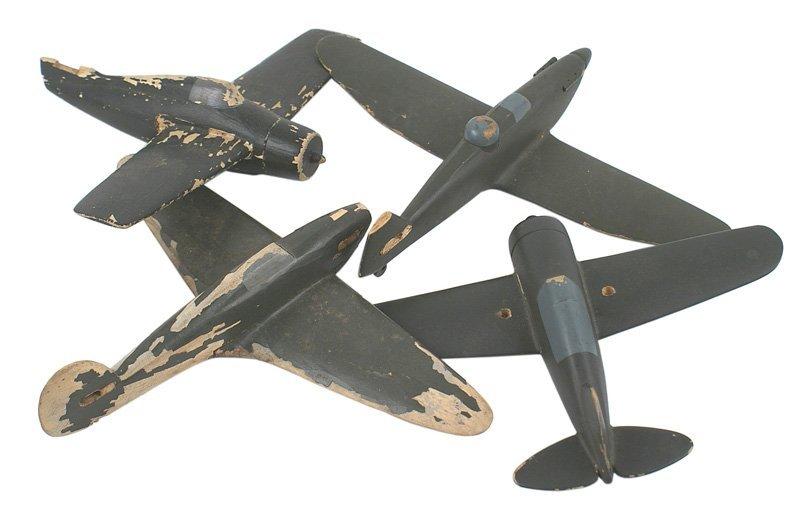 Lot of 4 U.S. WWII wood ID model airplanes