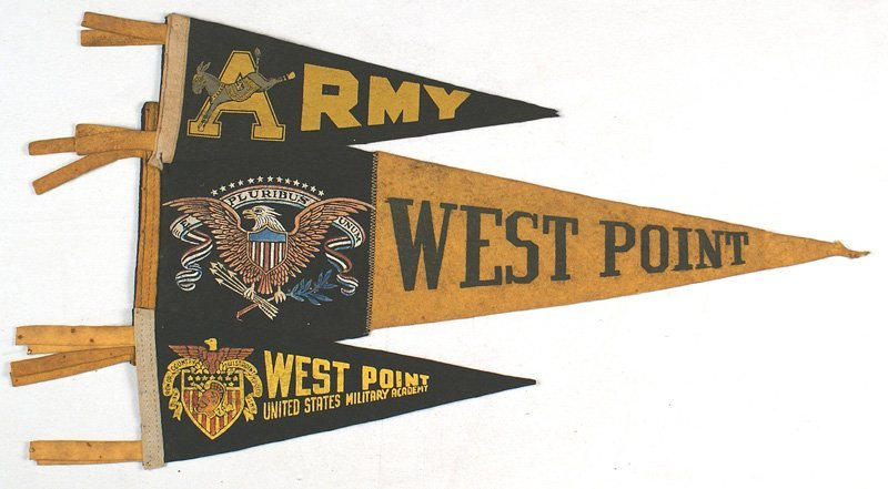 Lot of 5 vintage West Point pennants