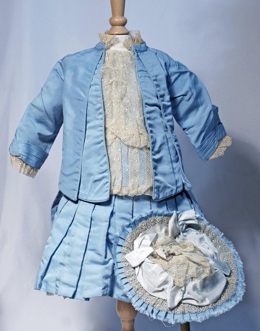 *14.  BLUE SILK BEBE DOLL DRESS WITH MATCHING BONNET.