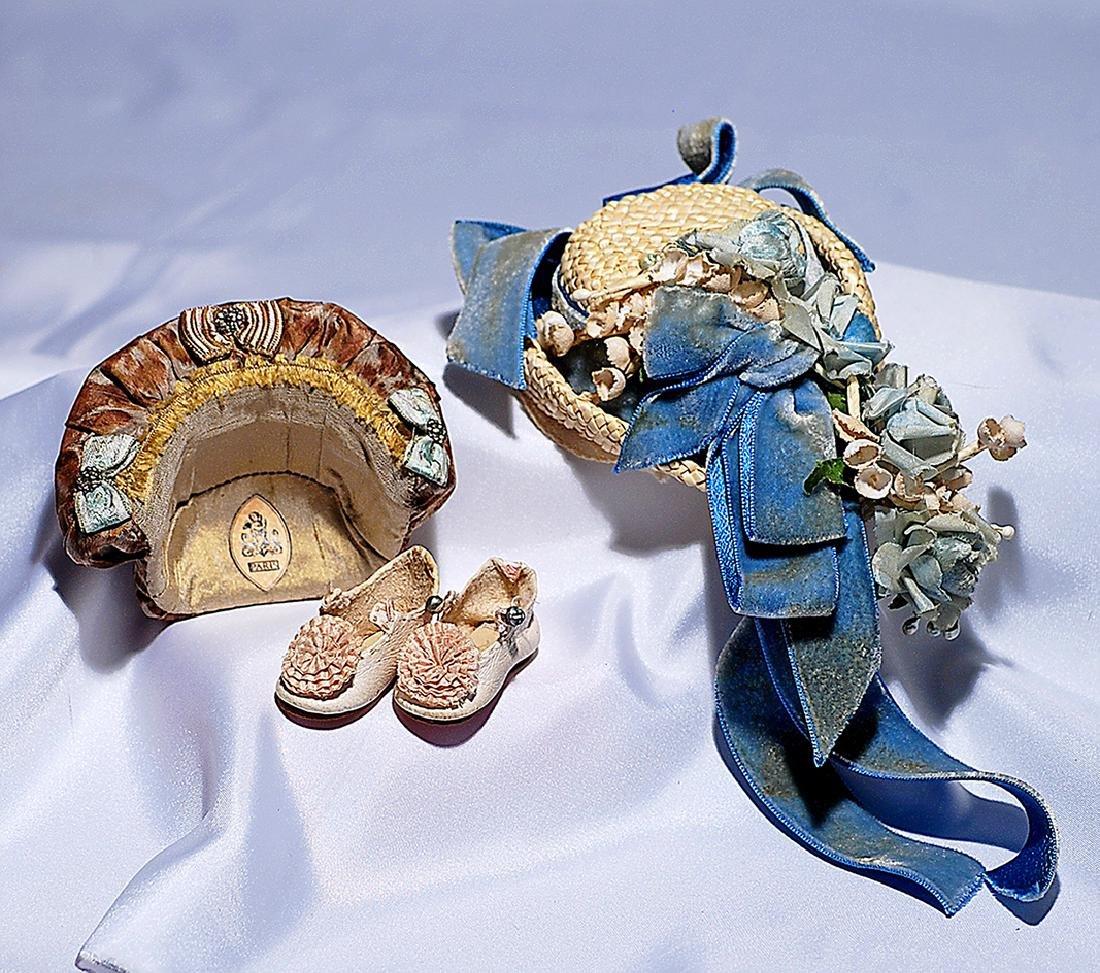 19. WHITE STRAW DOLL BONNET WITH BLUE VELVET AND FLORAL
