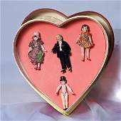 ".  FOUR GERMAN BISQUE DOLL HOUSE DOLLS.  3"" to 3 ½""."