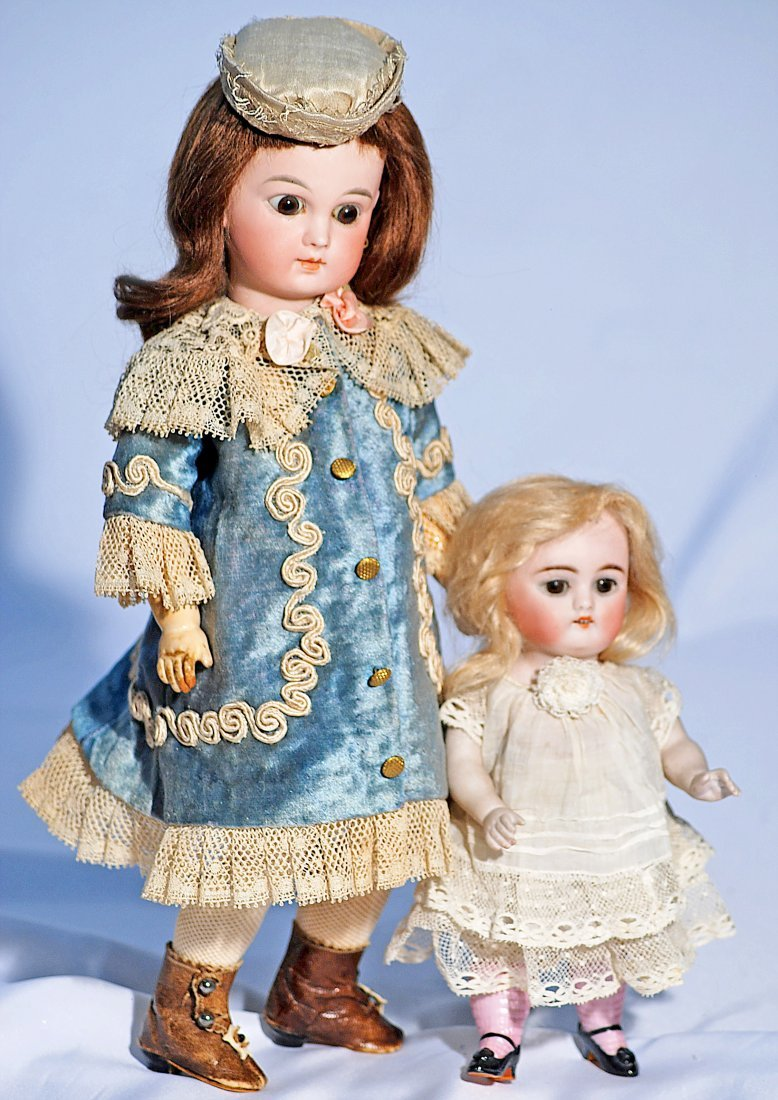 51-B.  GERMAN ALL-BISQUE DOLL WITH PINK STOCKINGS.