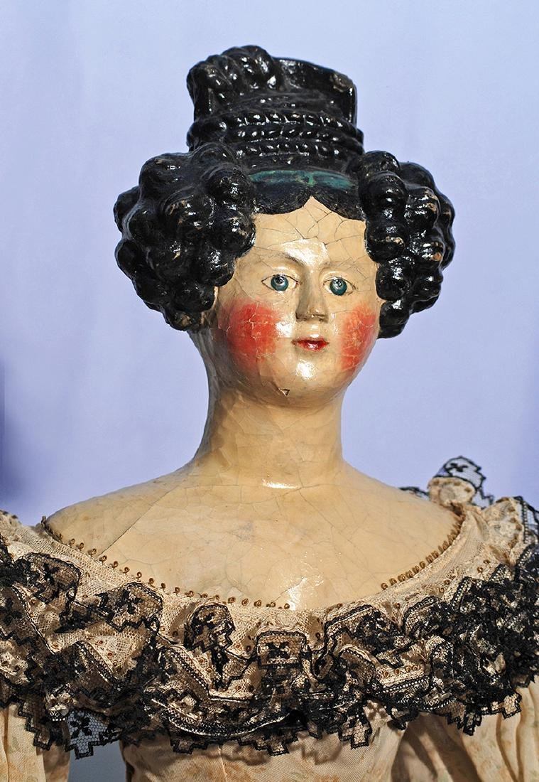 72.  LARGE EARLY GERMAN PAPER MACHE LADY WITH ELABORATE - 2
