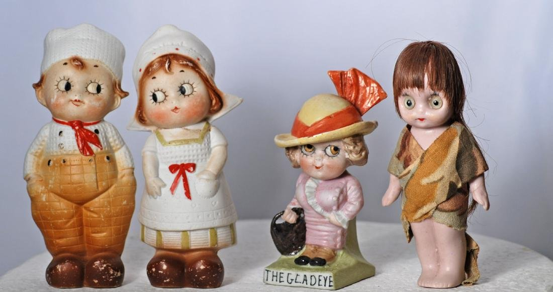 """*84.  FOUR GERMAN ALL-BISQUE NOVELTY FIGURES.  4 ½"""" to"""