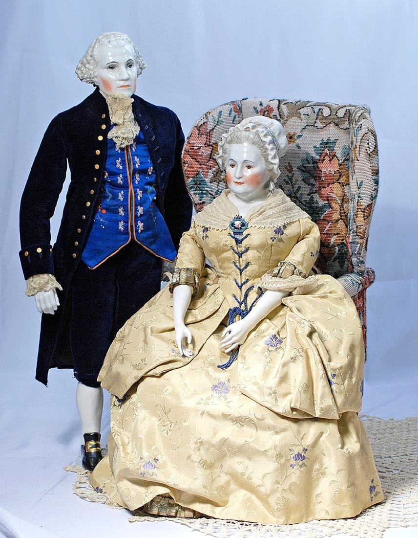 130.  GEORGE AND MARTHA WASHINGTON PORTRAIT DOLLS BY
