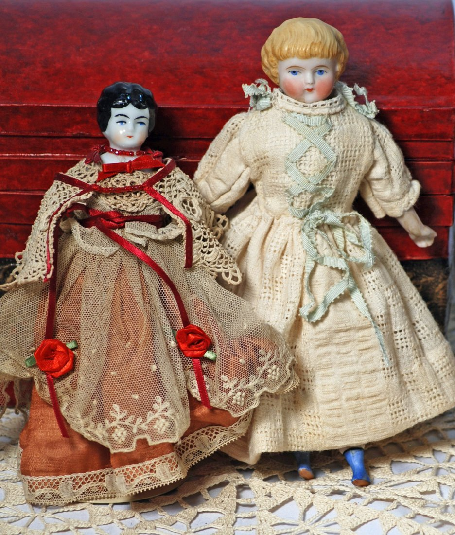 """*133.  TWO SMALL GERMAN DOLLS.  (1)  8 ½"""" Bisque"""