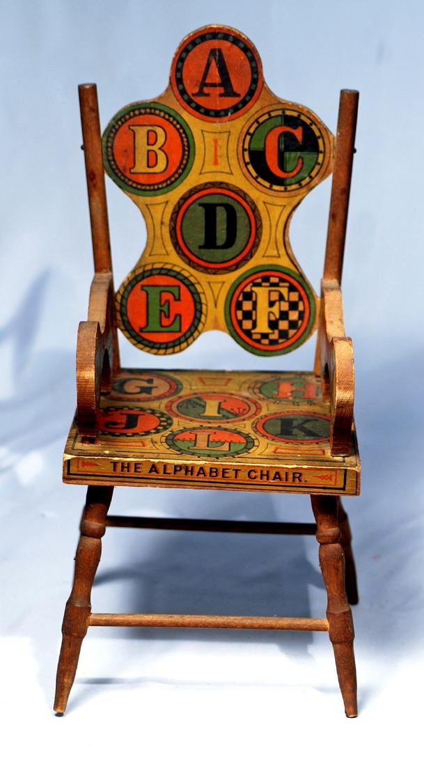 """217.  ANTIQUE LITHOGRAPHED DOLL-SIZE """"ALPHABET CHAIR""""."""