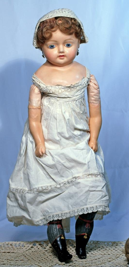 """243.  LARGE GERMAN WAX-OVER-COMPOSITION DOLL.  28""""."""