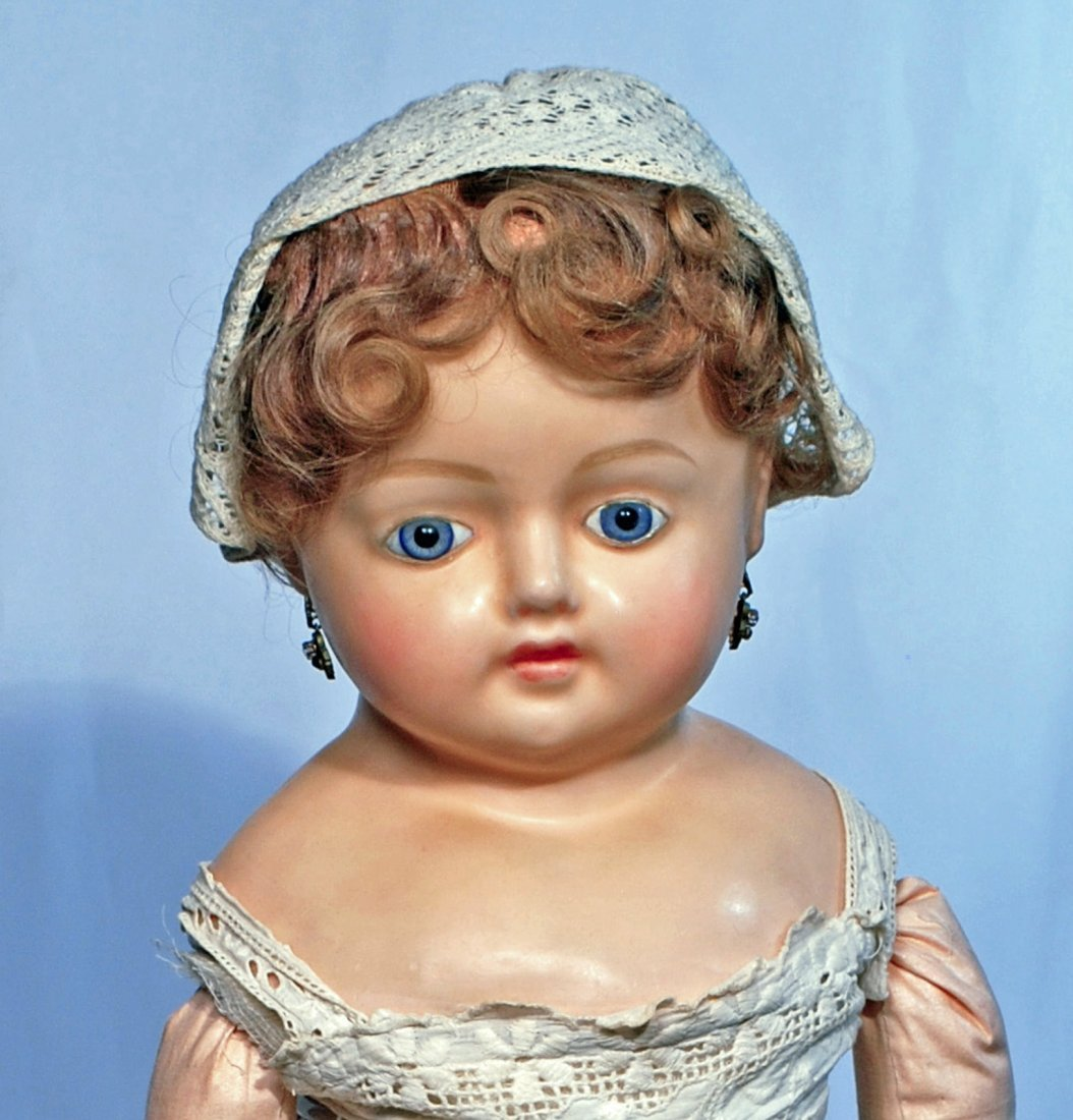 """243.  LARGE GERMAN WAX-OVER-COMPOSITION DOLL.  28"""". - 2"""