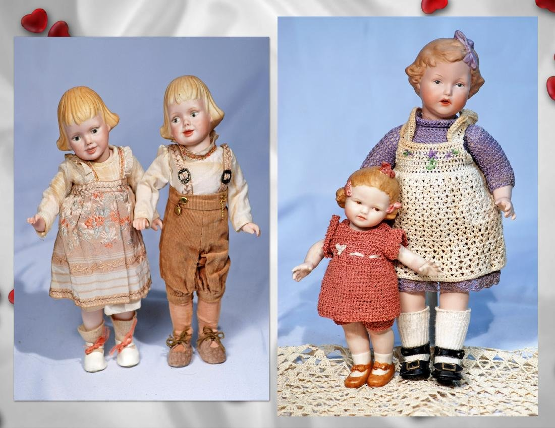 246.  FOUR ALL-BISQUE REPRODUCTION CHARACTER DOLLS.  7