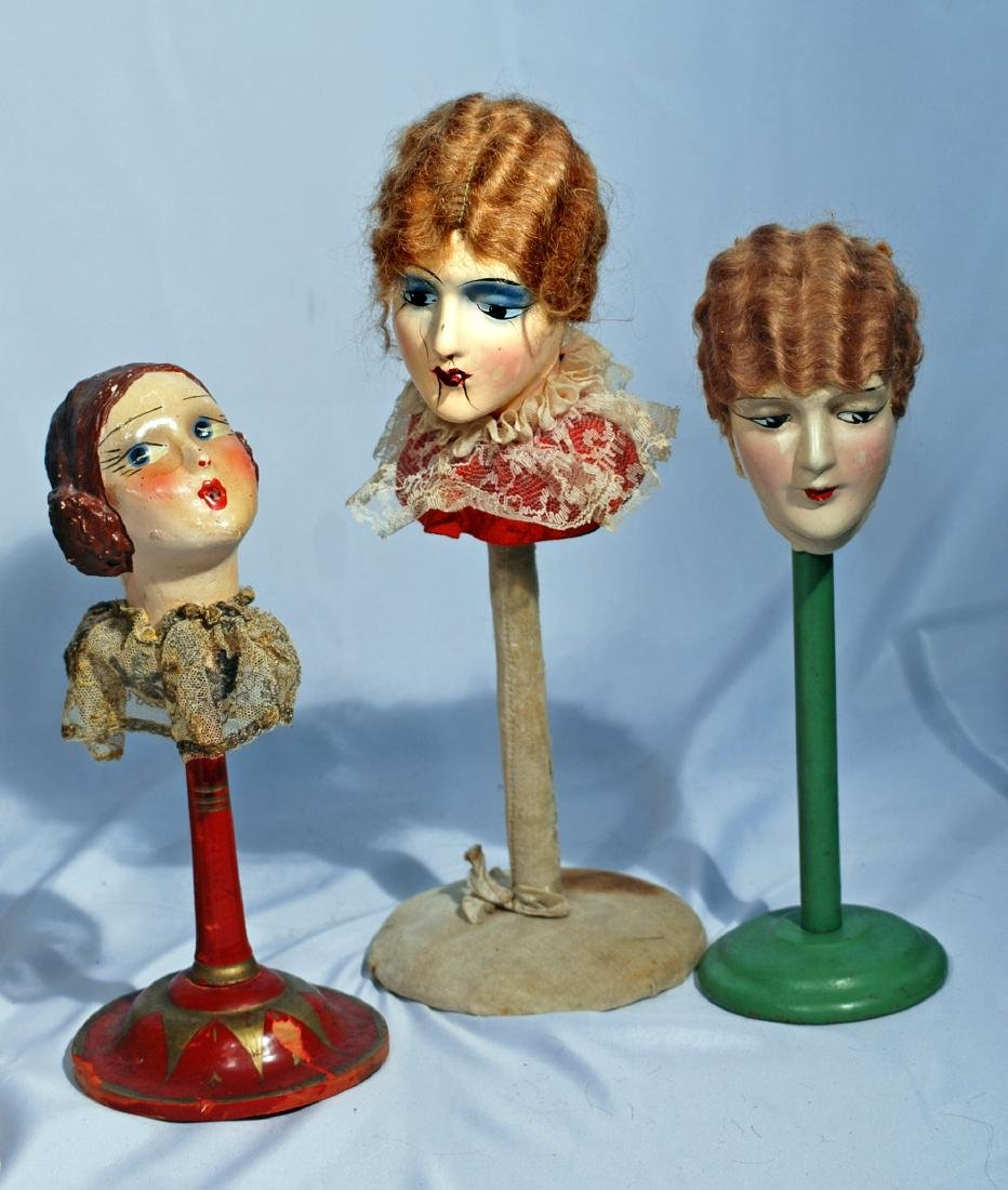 249.  THREE COMPOSITION, ART DECO HEAD, HAT STANDS.