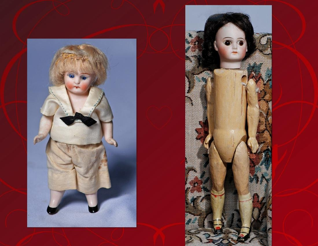 252.  GERMAN BISQUE BELTON-TYPE DOLL & ALL-BISQUE DOLL.