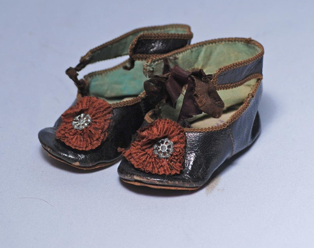 270.  PAIR OF ANTIQUE FRENCH DOLL SHOES.  Marks: