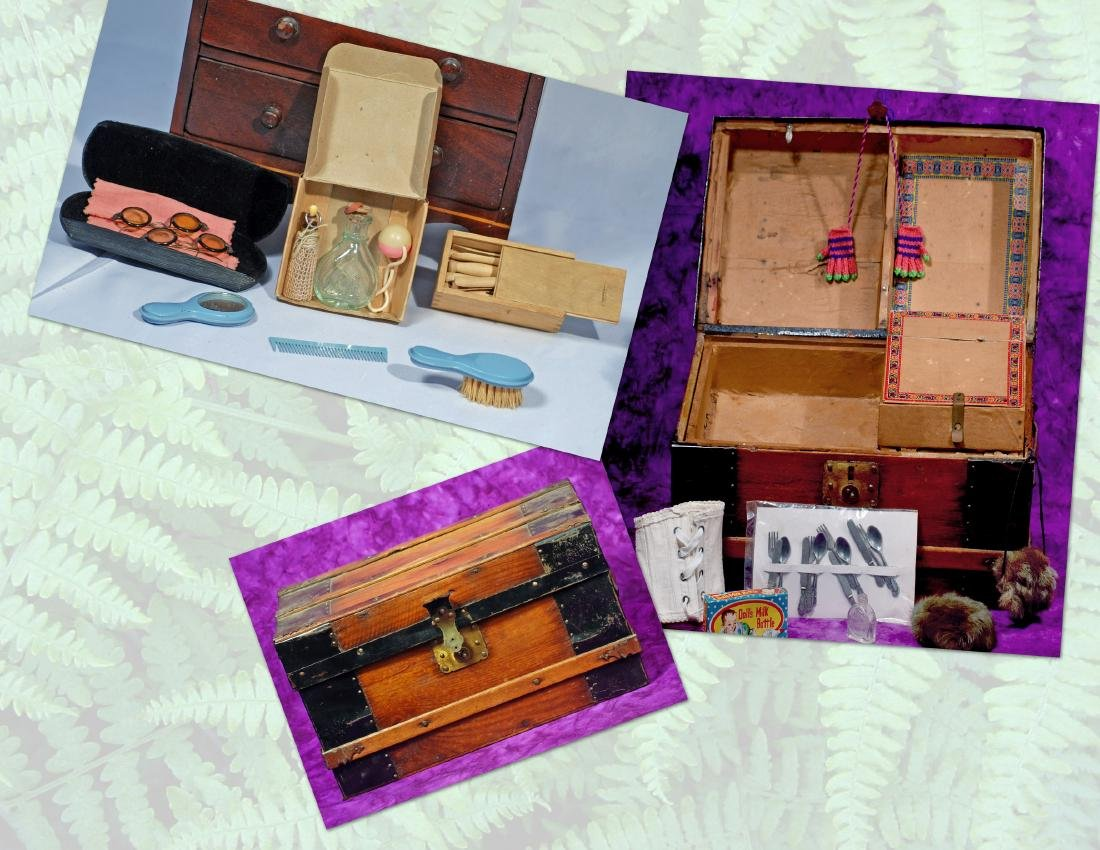 273-B.  ANTIQUE WOODEN DOLL TRUNK WITH CONTENTS & DOLL