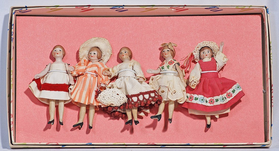 FIVE GERMAN ALL-BISQUE DOLLHOUSE DOLLS.