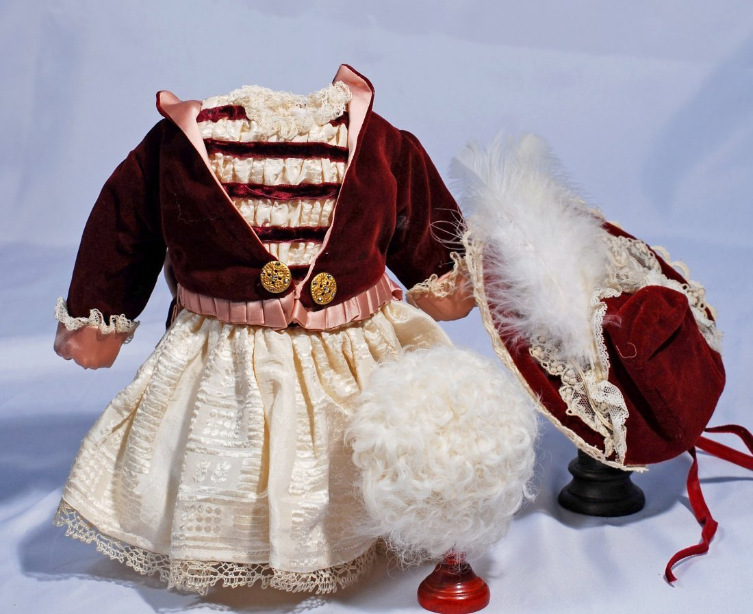 BRU-STYLE DRESS AND BONNET - PLUS LAMBS WOOL WIG