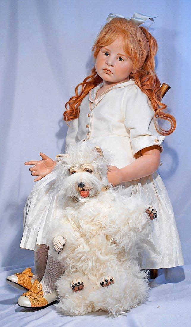 "HILDAGARD GUNZEL PORCELAIN DOLL ""LELLIA WITH HER DOG"" - 2"