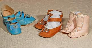THREE PAIR OF ANTIQUE LEATHER DOLL SHOES. Includes: