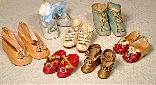 """SEVEN PAIRS OF ANTIQUE DOLL SHOES. 2 ½"""" to 3"""" lengths;"""