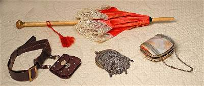 "DOLL PURSES AND PARASOL.  11 ½"" L. wooden handled"