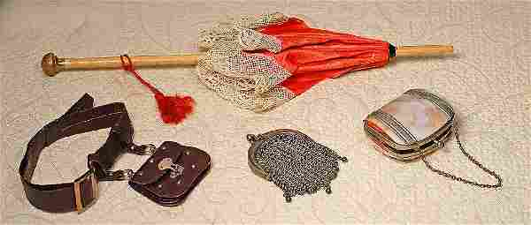 """DOLL PURSES AND PARASOL. 11 ½"""" L. wooden handled"""