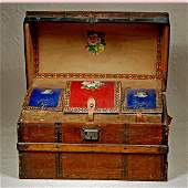"""ANTIQUE WOODEN DOLL TRUNK. 16"""" W. x 10"""" H."""