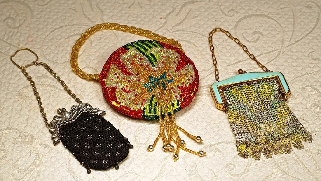 "THREE DOLL PURSES. 3 ½"" mesh purse marked ""Whiting &"