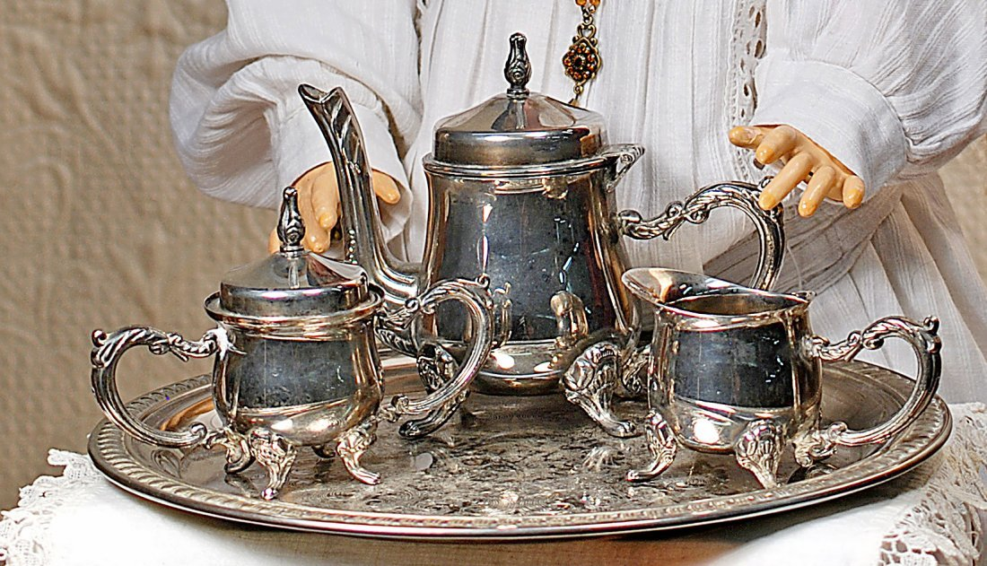 : silver plated tea set and tray - pezcame.com