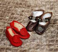 """TWO PAIR OF ANTIQUE FRENCH DOLL SHOES Each 2"""" length"""