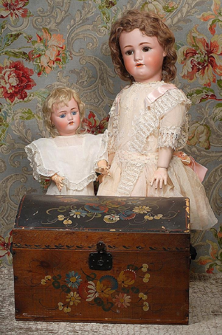 """ANTIQUE TOLE PAINTED WOODEN DOLL TRUNK 16"""" W. x 9"""" H. x"""