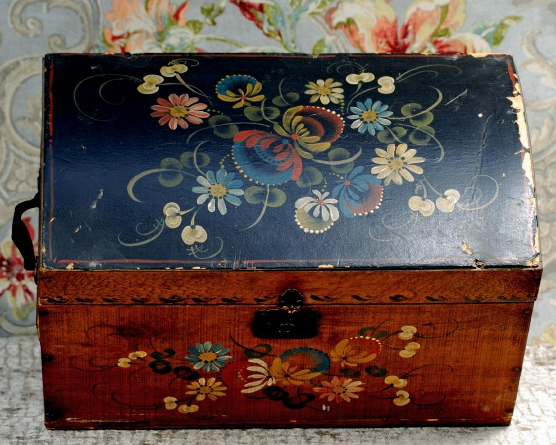"ANTIQUE TOLE PAINTED WOODEN DOLL TRUNK 16"" W. x 9"" H. x - 2"