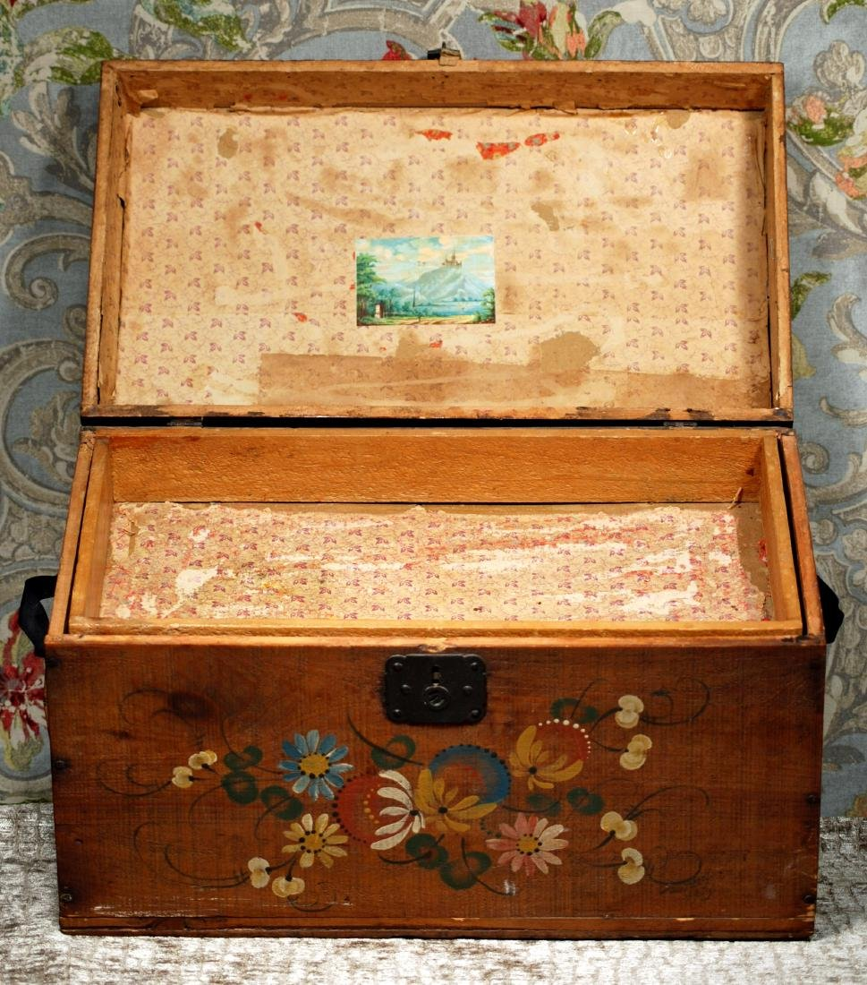 "ANTIQUE TOLE PAINTED WOODEN DOLL TRUNK 16"" W. x 9"" H. x - 3"