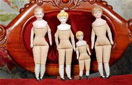 "FOUR GERMAN BISQUE DOLL HOUSE DOLLS 4 ½"" to 6 ½"" Each"
