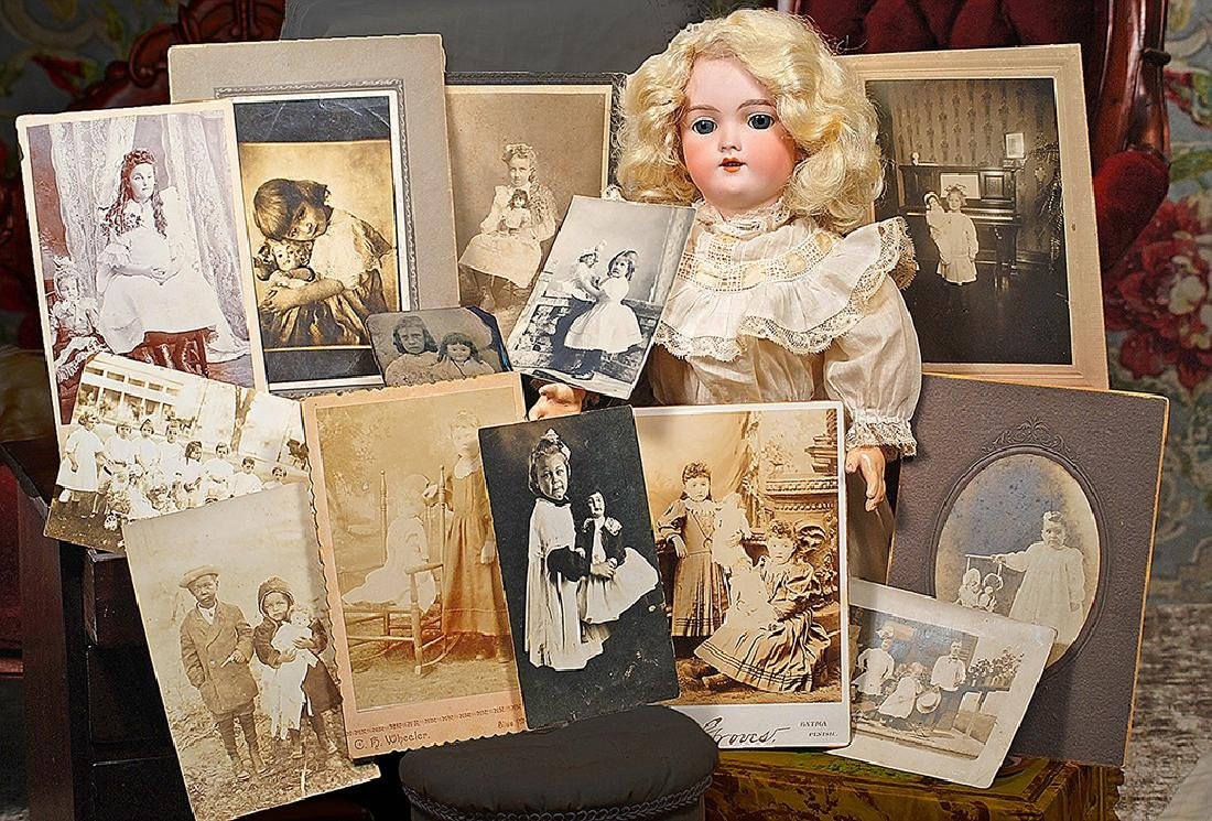 COLLECTION OF OLD PHOTOGRAPHS OF CHILDREN WITH DOLLS