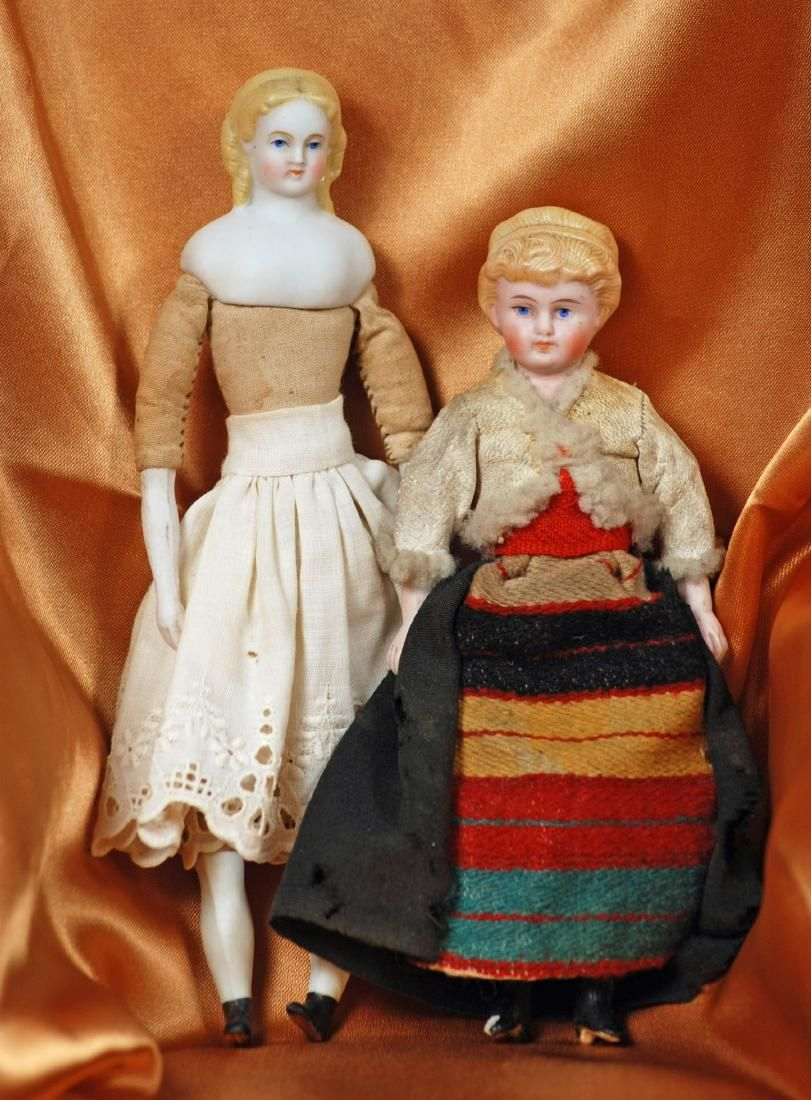 """TWO GERMAN BISQUE DOLL HOUSE DOLLS 6"""" and 7"""" Each is"""