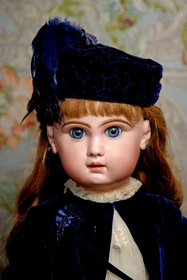 BEAUTIFUL BLUE-EYED FRENCH BISQUE BEBE, SIZE 13, BY - 2