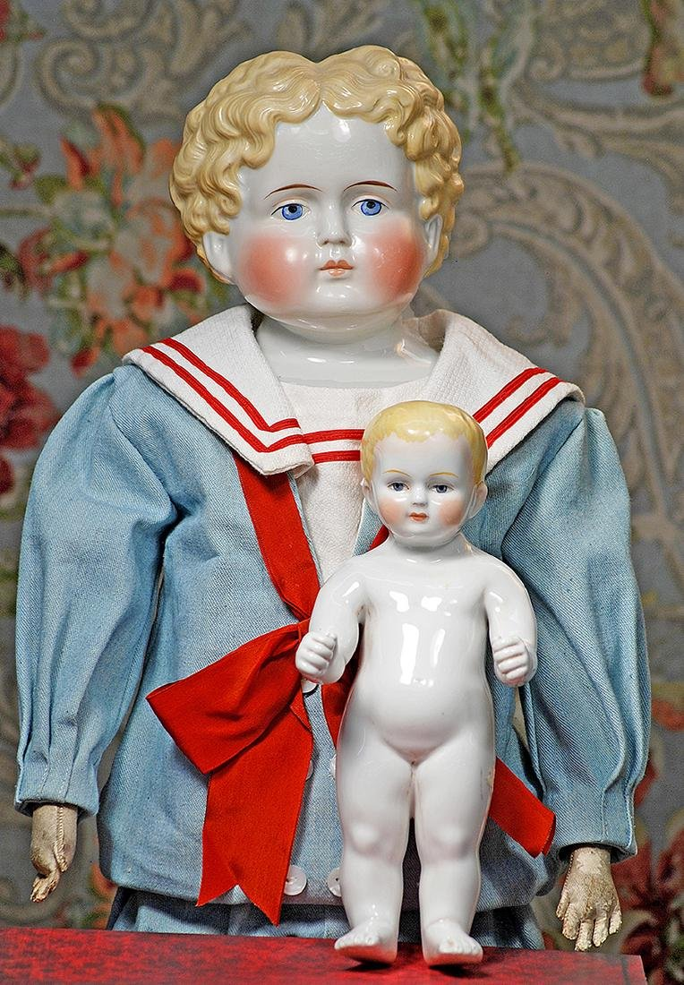 """LARGE BLONDE-HAIRED GERMAN PORCELAIN DOLL 28"""" Porcelain"""