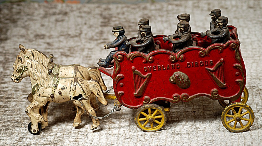 "CAST IRON ""OVERLAND CIRCUS WAGON"" BY KENTON 15 ½"" L. x - 2"