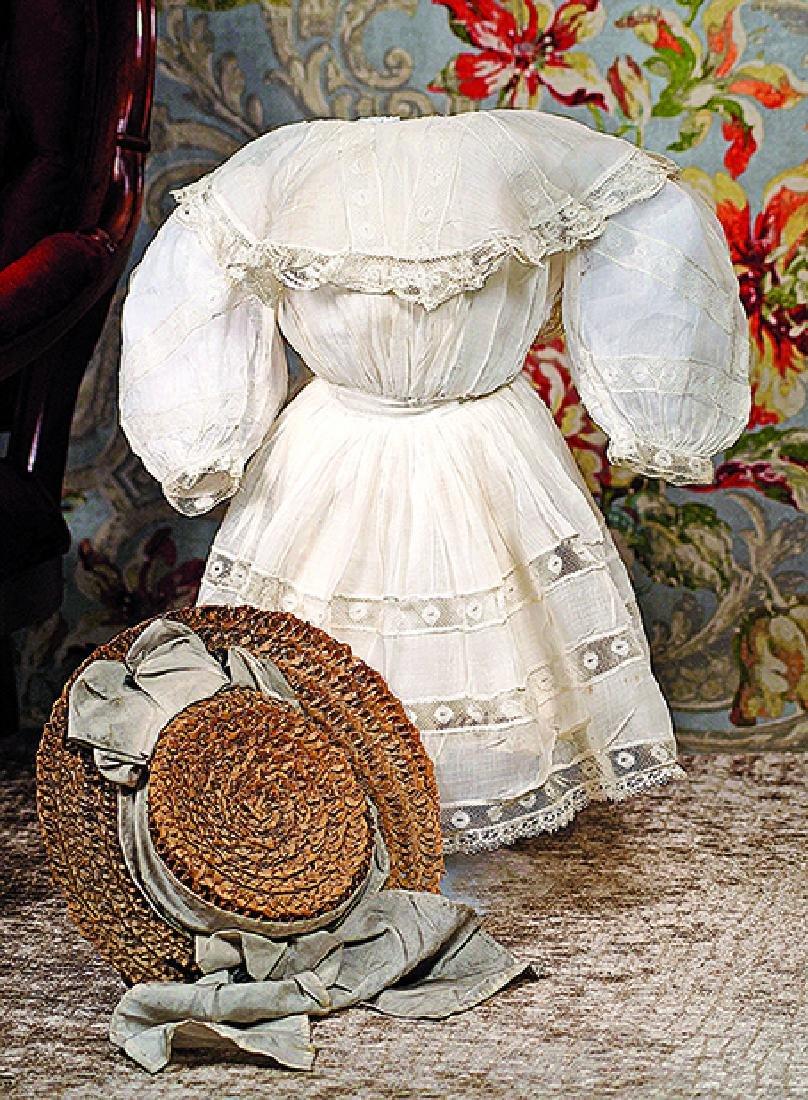 ANTIQUE DOLL DRESS AND BONNET Fine white cotton dress