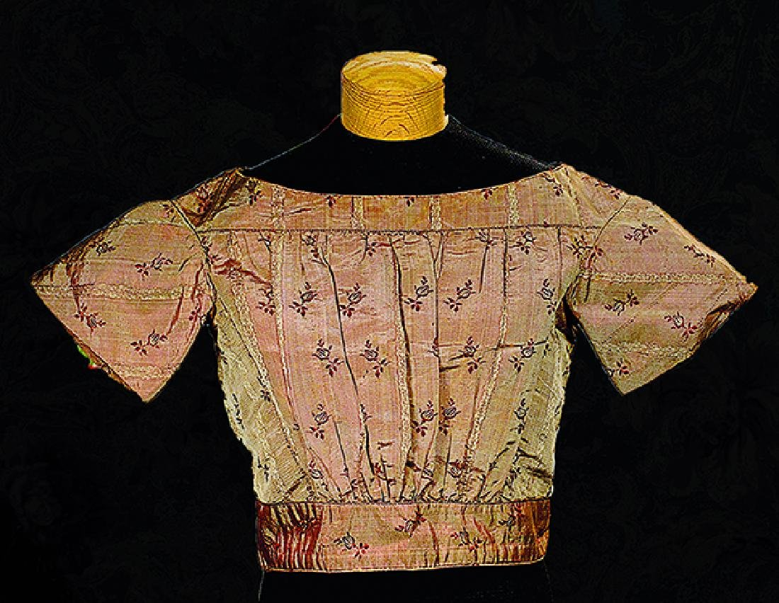 ANTIQUE SILK CHILD'S SHIRTWAIST Finely woven patterned