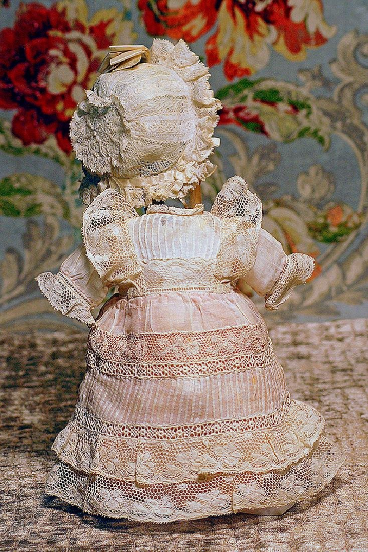 ANTIQUE DOLL DRESS AND BONNET Fine white semi-sheer