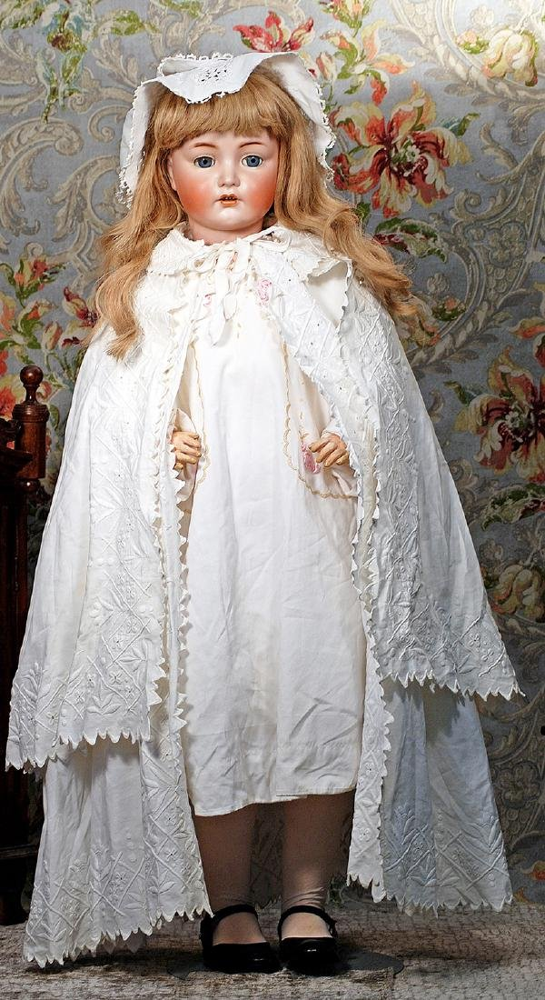 LARGE GERMAN BISQUE CHARACTER DOLL, 117N, BY KAMMER AND