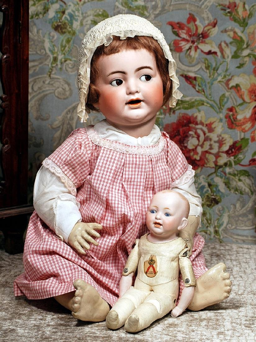 """GERMAN BISQUE TODDLER ON RARE KID BODY 12 ½"""" Solid-dome"""