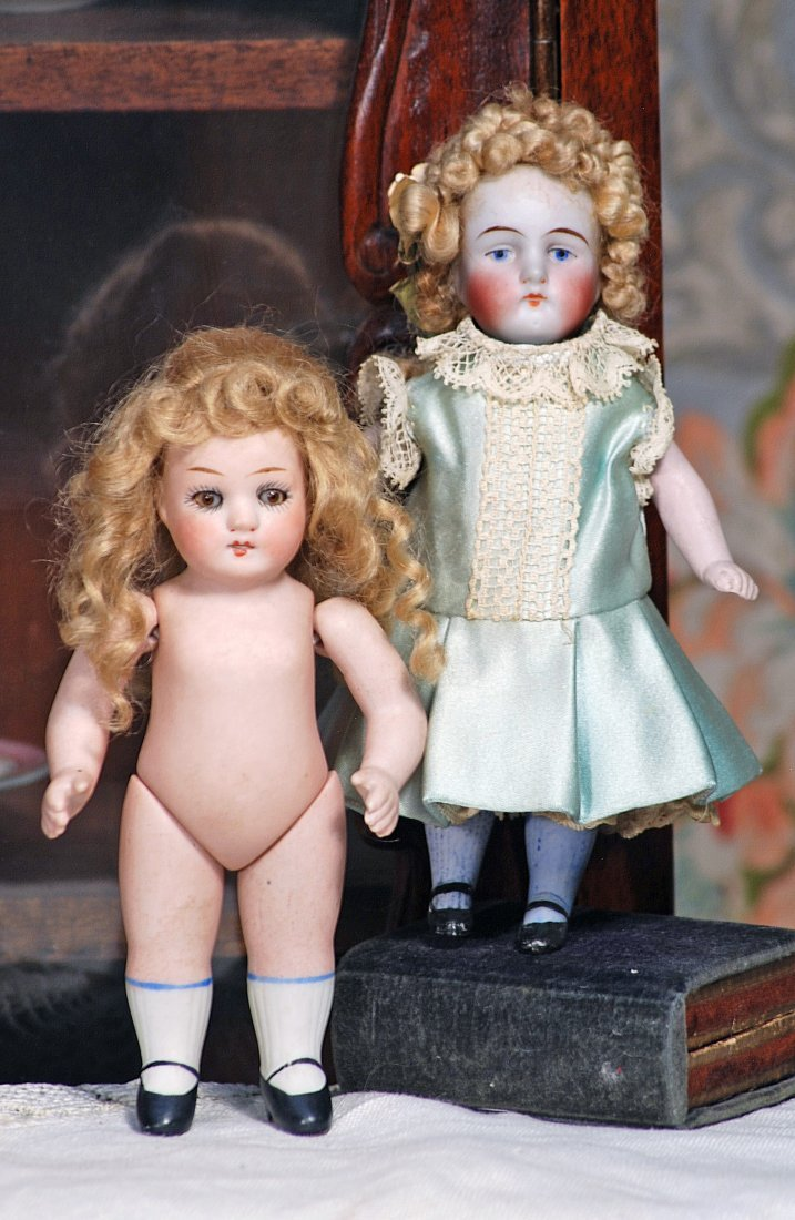 """TWO GERMAN ALL-BISQUE DOLLS (1) 5 ¼"""" doll by Alt, Beck"""