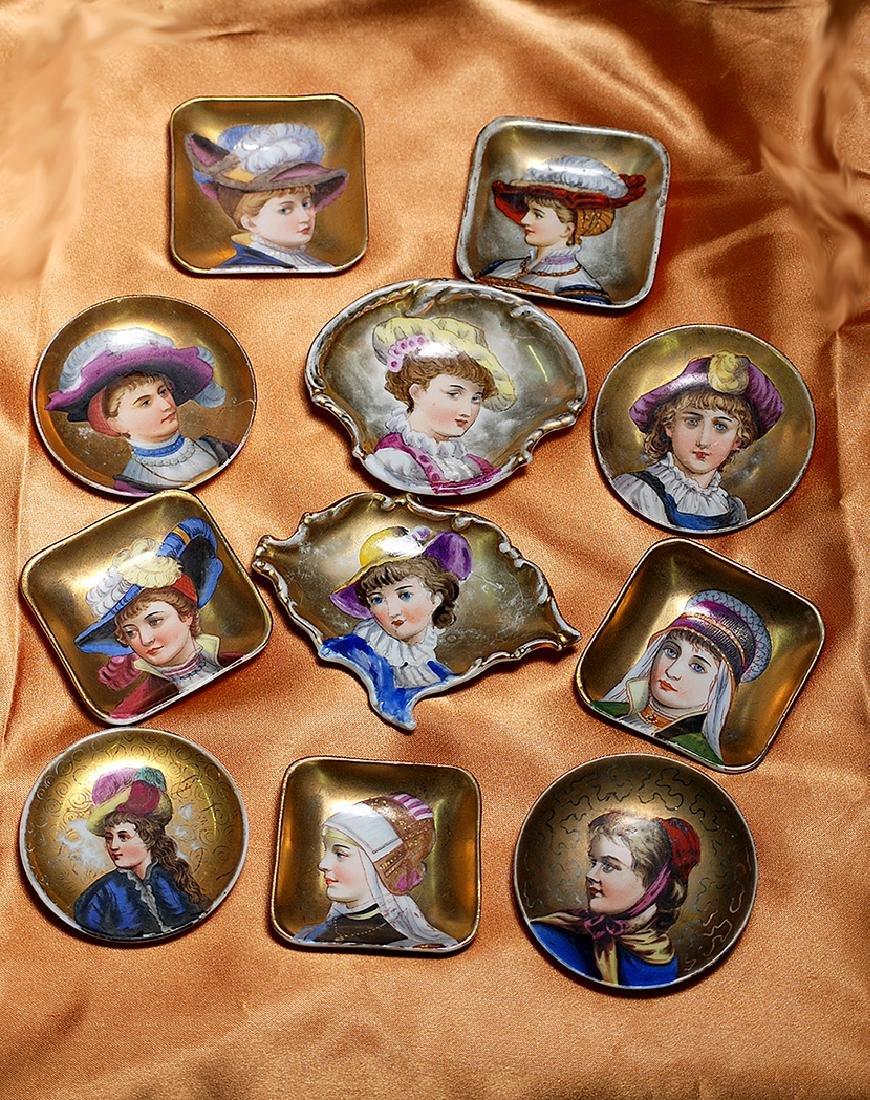 ELEVEN FRENCH HANDPAINTED PORCELAIN PORTRAIT PLATES
