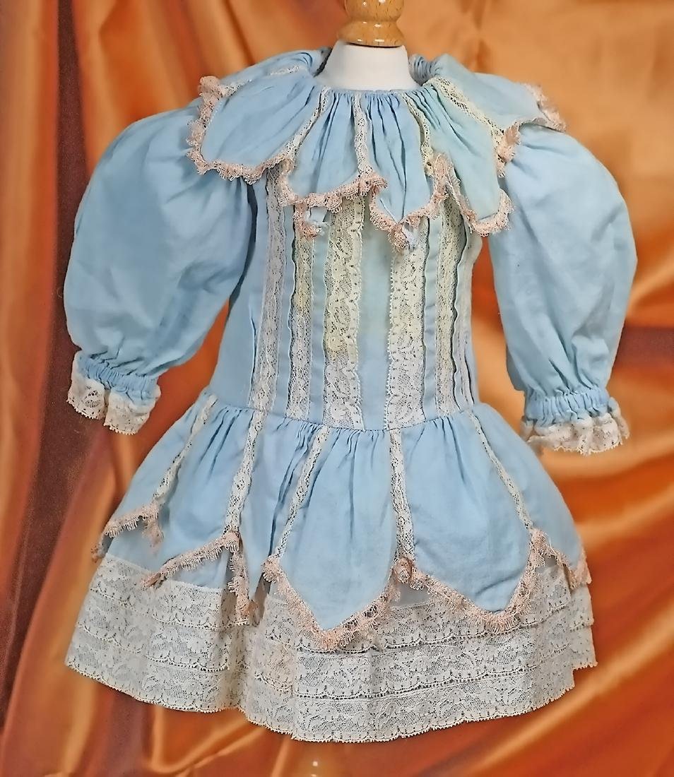 "BLUE COTTON DOLL DRESS 5 ½"" shoulder width, 12 ½"""