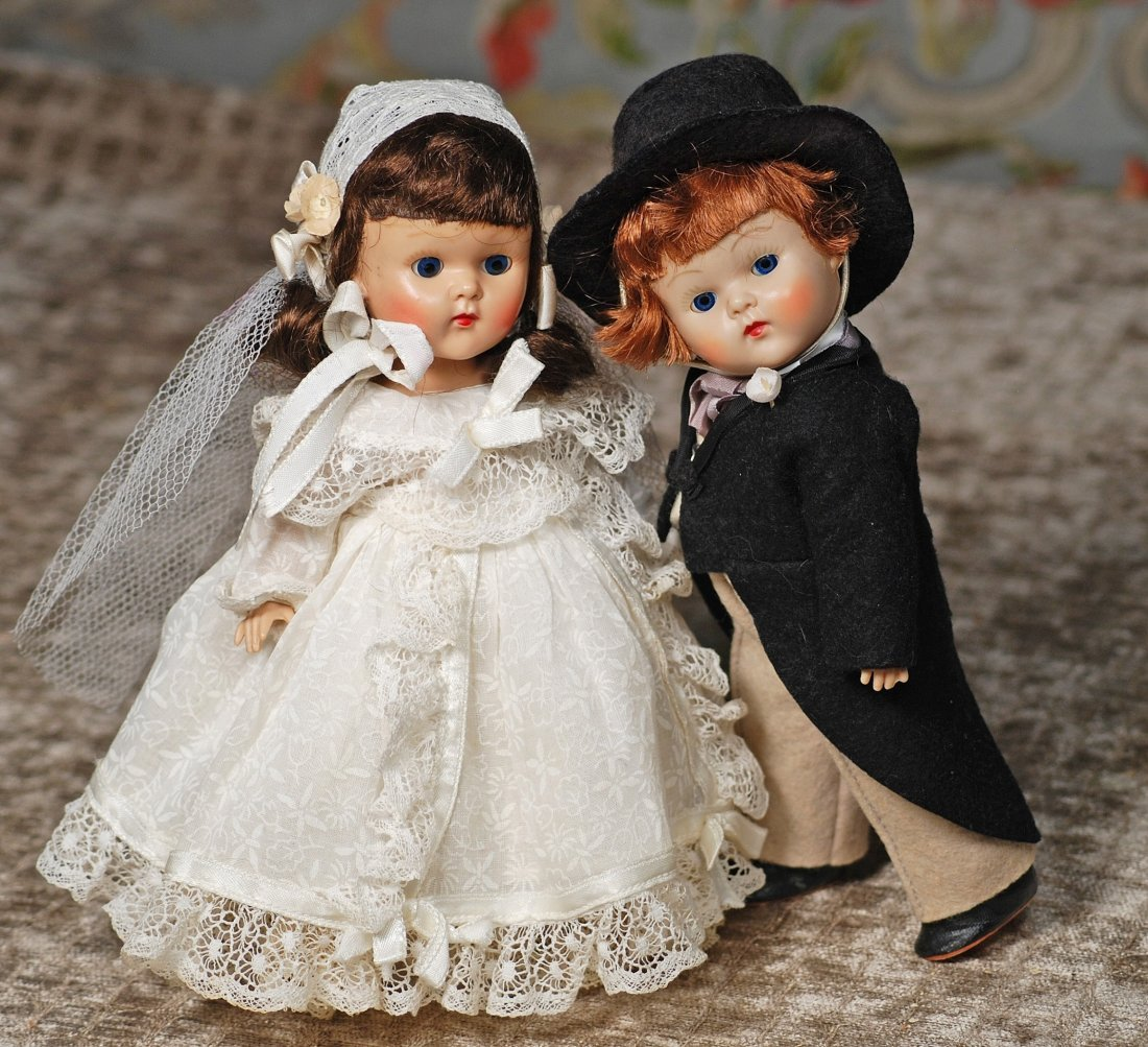 VOGUE GINNY HARD PLASTIC DOLLS AS BRIDE AND GROOM. Each