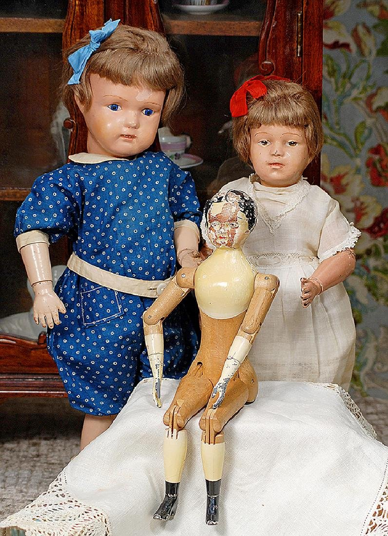 TWO SCHOENHUT CARVED WOODEN DOLLS: CHARACTER GIRL 308