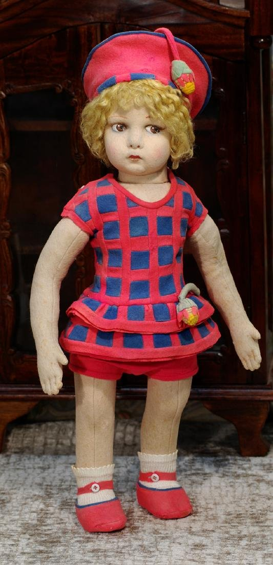 LARGE ITALIAN CLOTH LENCI DOLL WITH VERY POUTY FACE