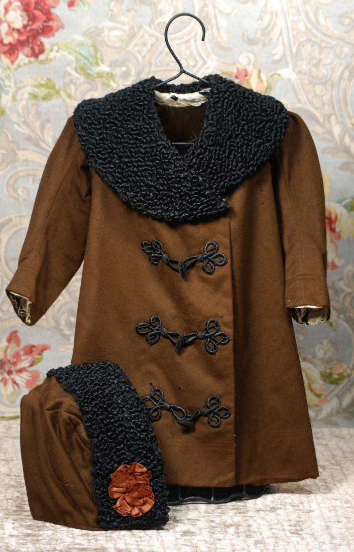ANTIQUE DOLL COAT WITH MATCHING HAT